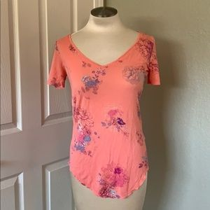Peachy Floral Comfy Stretch V-Neck Top